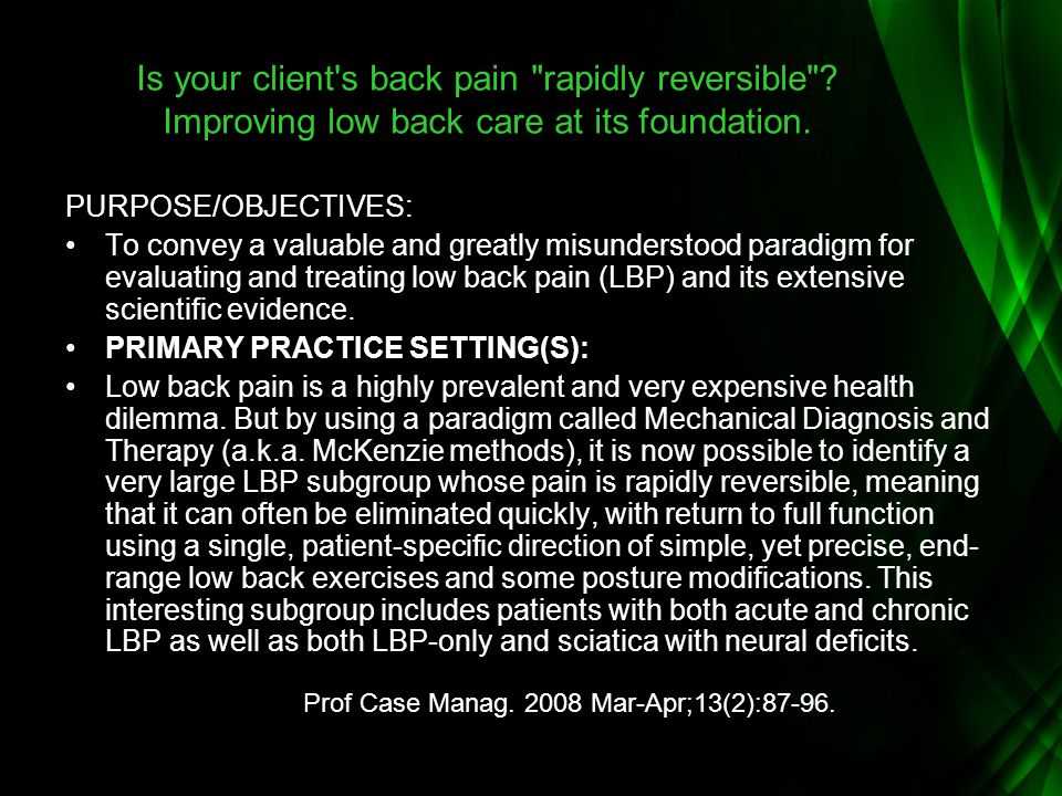 Is your client s back pain rapidly reversible
