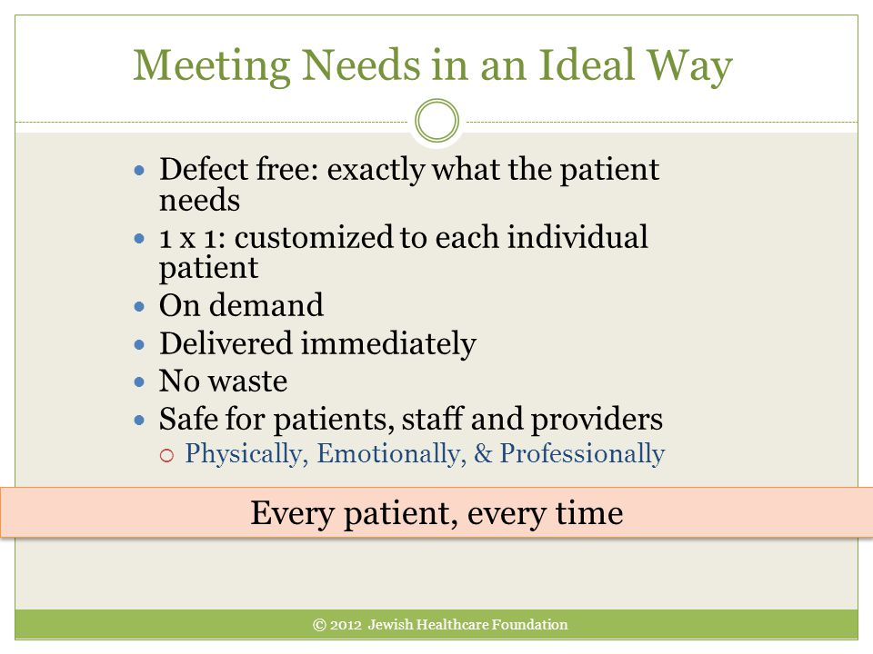 Meeting Needs in an Ideal Way