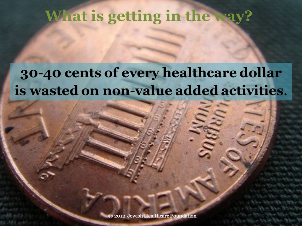 What is getting in the way 30-40 cents of every healthcare dollar