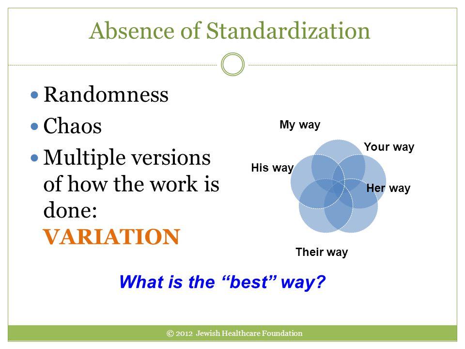 Absence of Standardization