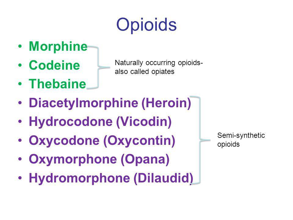 Opioids Morphine Codeine Thebaine Diacetylmorphine (Heroin)