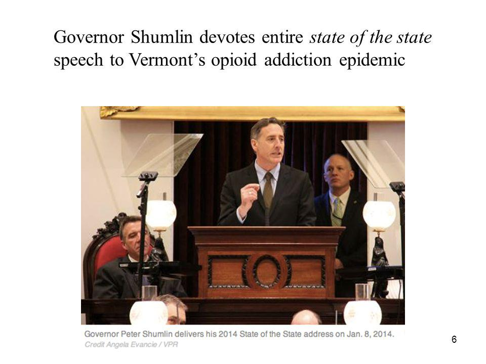 Governor Shumlin devotes entire state of the state speech to Vermont's opioid addiction epidemic