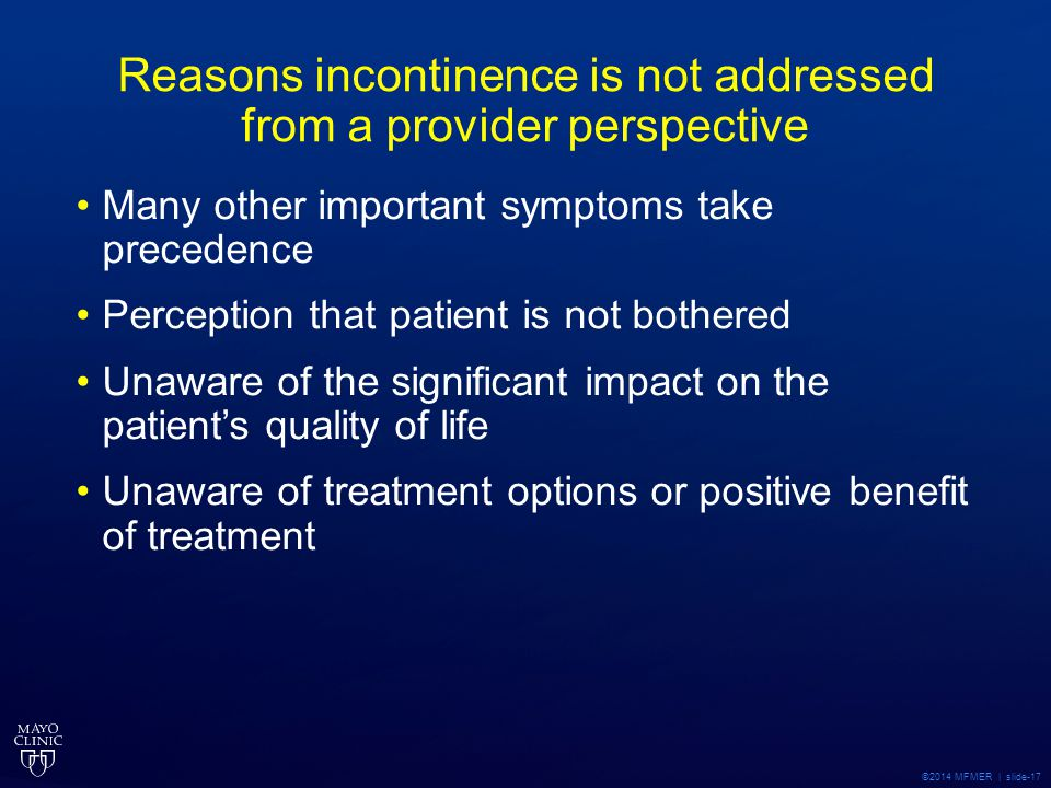 Reasons incontinence is not addressed from a provider perspective