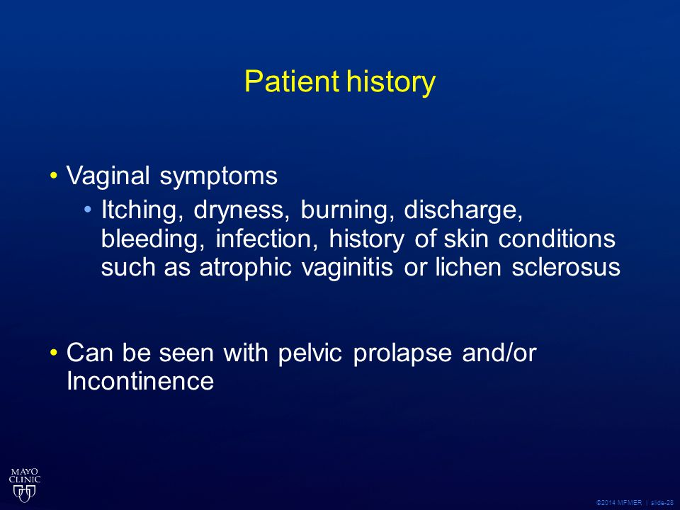 Patient history Vaginal symptoms