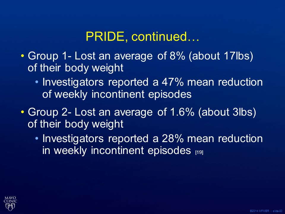 PRIDE, continued… Group 1- Lost an average of 8% (about 17lbs) of their body weight.