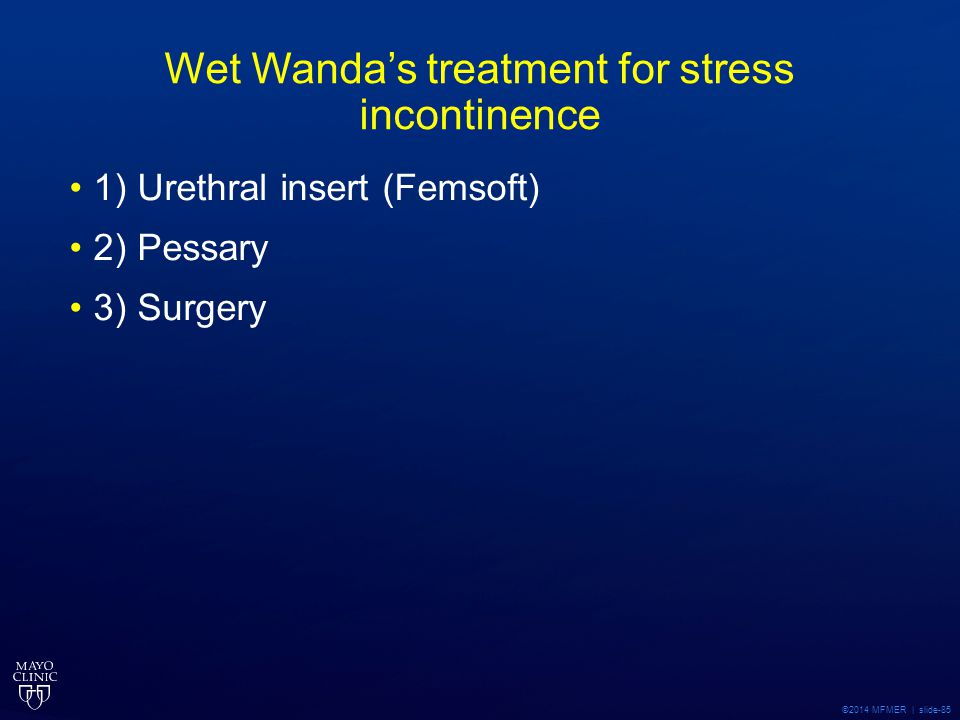Wet Wanda's treatment for stress incontinence