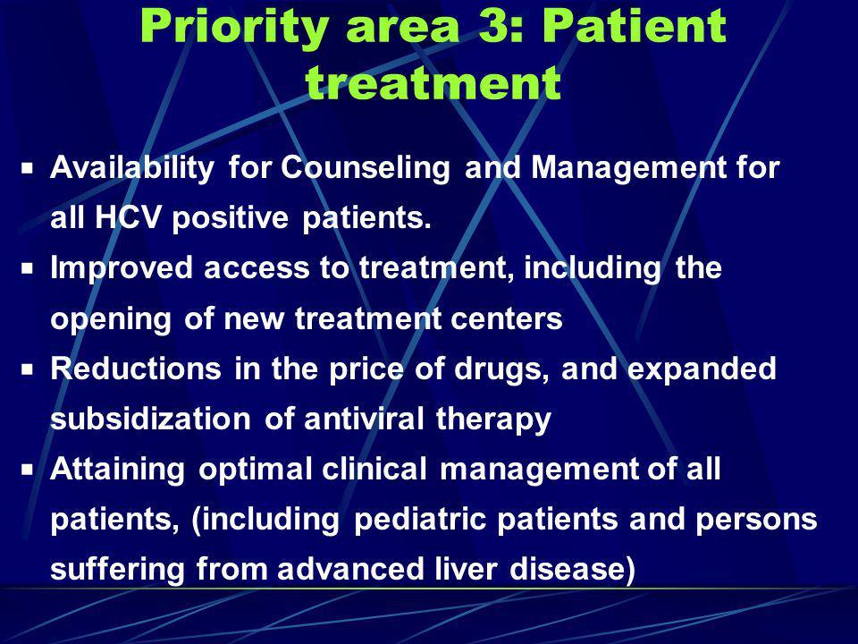 Priority area 3: Patient treatment
