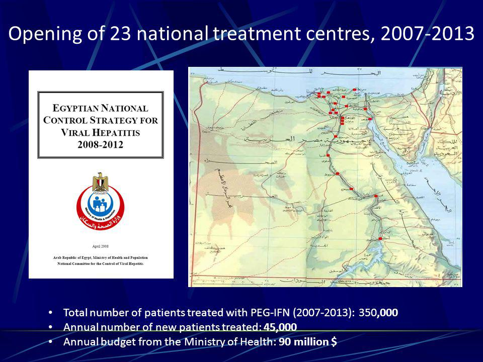 Opening of 23 national treatment centres, 2007-2013