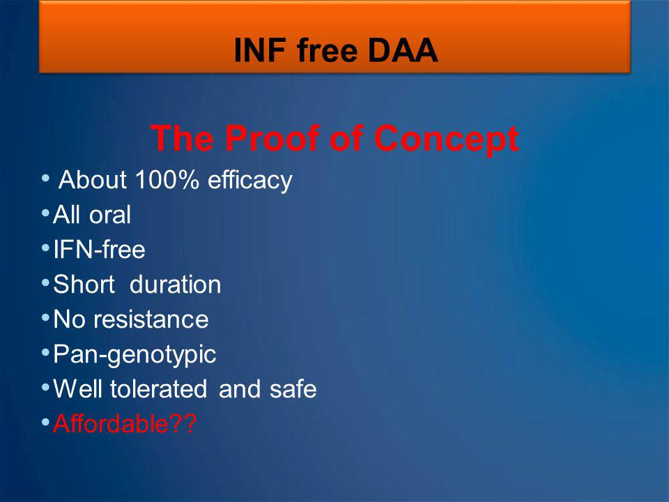 The Proof of Concept INF free DAA About 100% efficacy All oral