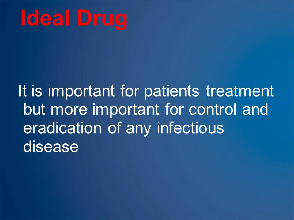 Ideal Drug It is important for patients treatment but more important for control and eradication of any infectious disease.