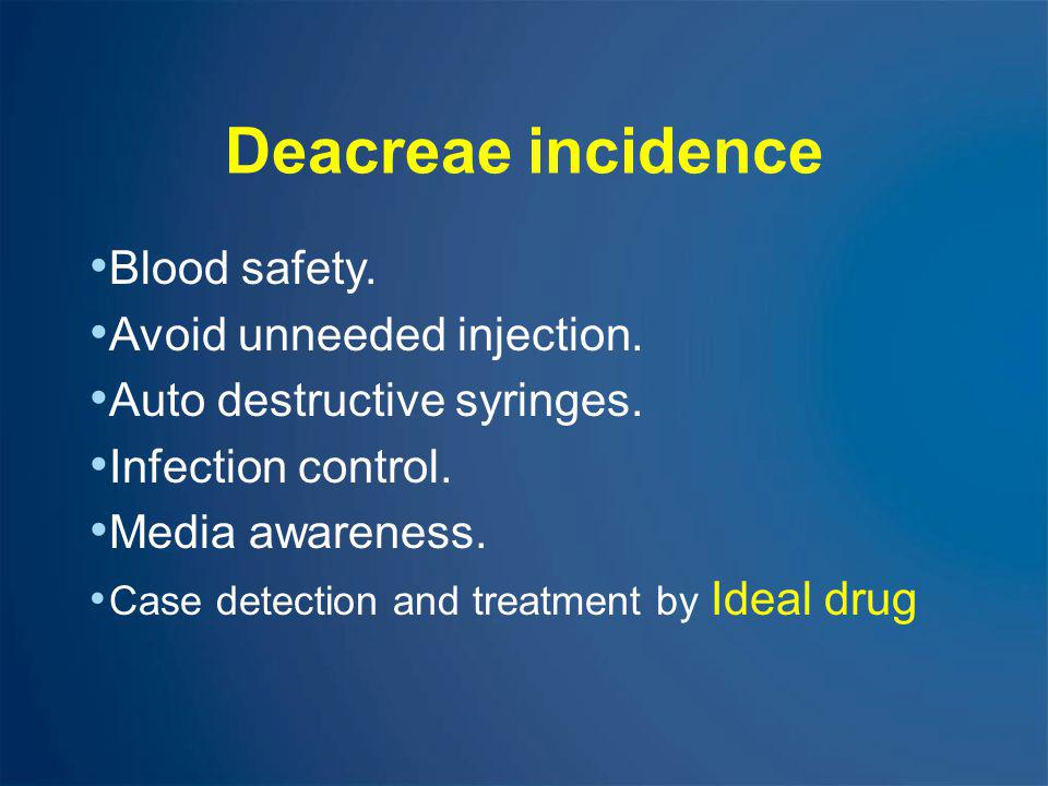 Deacreae incidence Blood safety. Avoid unneeded injection.