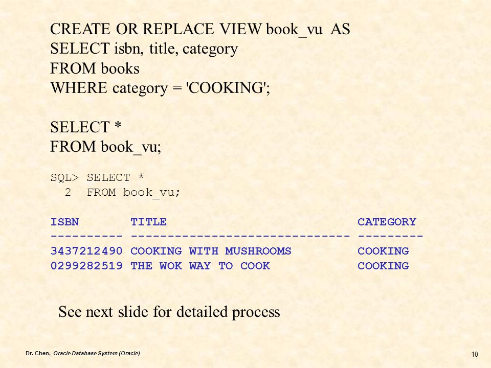 CREATE OR REPLACE VIEW book_vu AS SELECT isbn, title, category