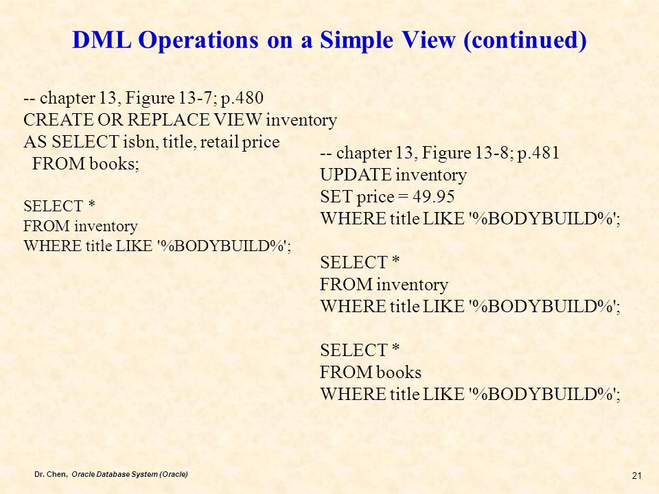 DML Operations on a Simple View (continued)