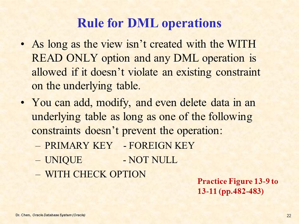 Rule for DML operations