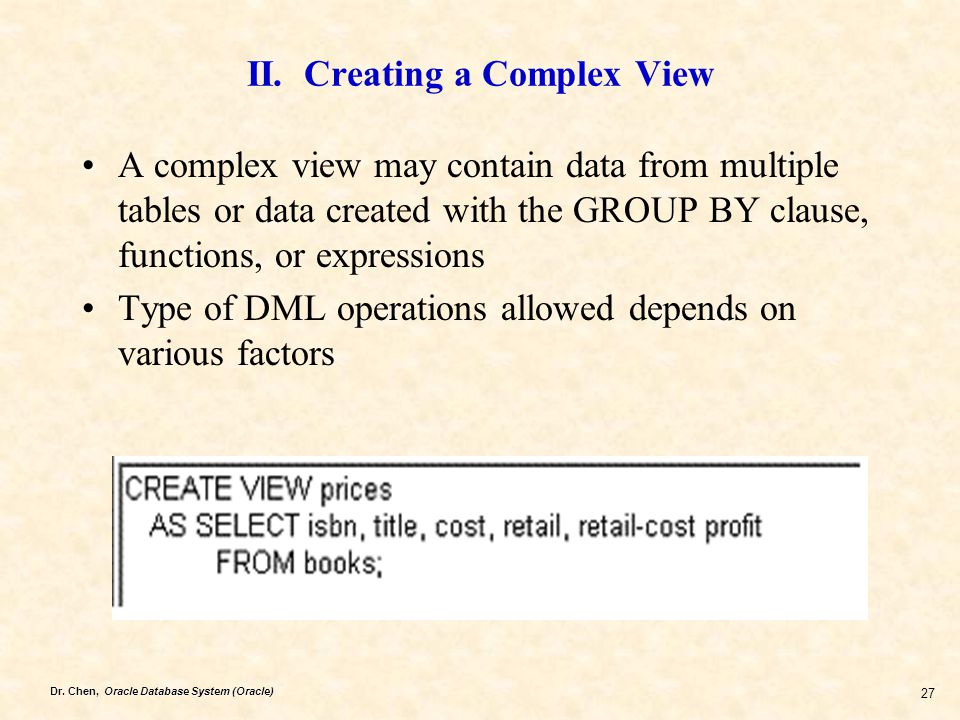 II. Creating a Complex View