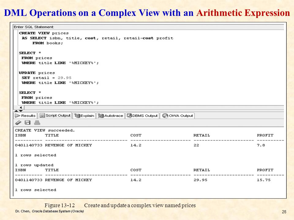 DML Operations on a Complex View with an Arithmetic Expression