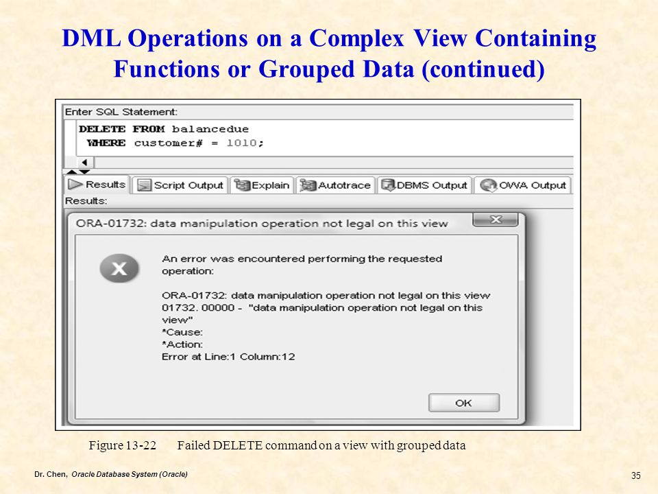 DML Operations on a Complex View Containing Functions or Grouped Data (continued)