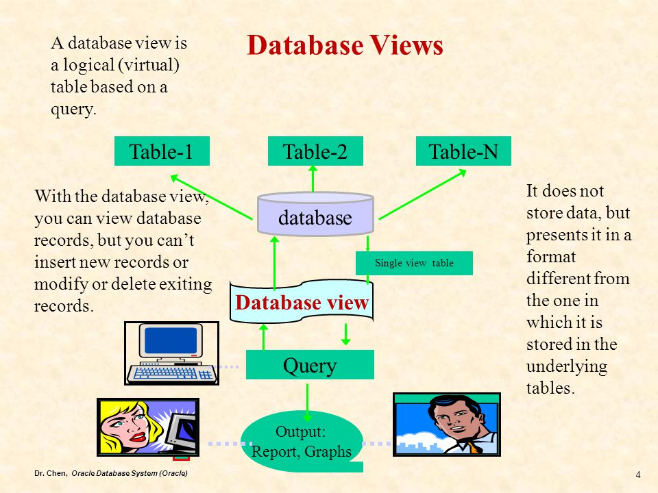 Database Views Table-1 Table-2 Table-N database Database view Query