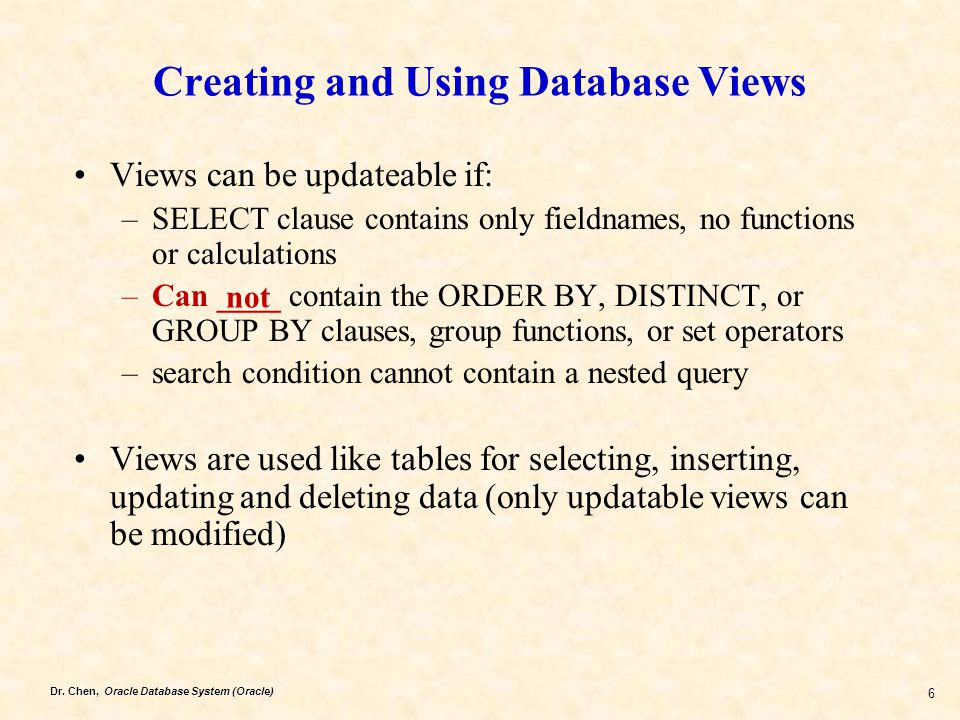 Creating and Using Database Views