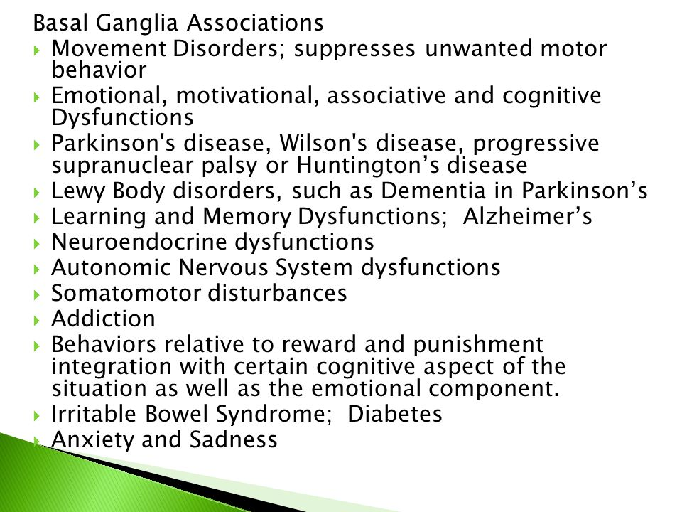 Basal Ganglia Associations