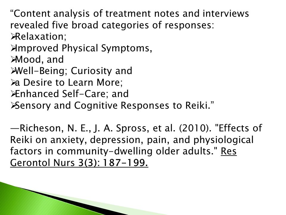 Content analysis of treatment notes and interviews revealed five broad categories of responses: