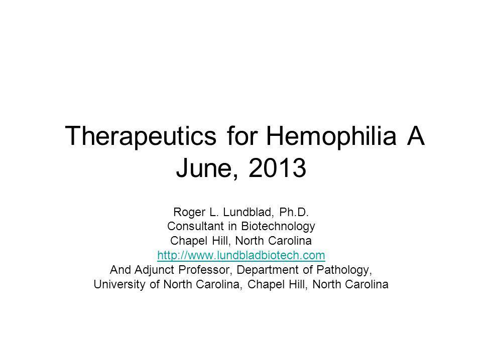 Therapeutics for Hemophilia A June, 2013