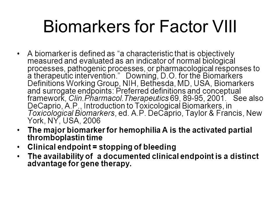 Biomarkers for Factor VIII
