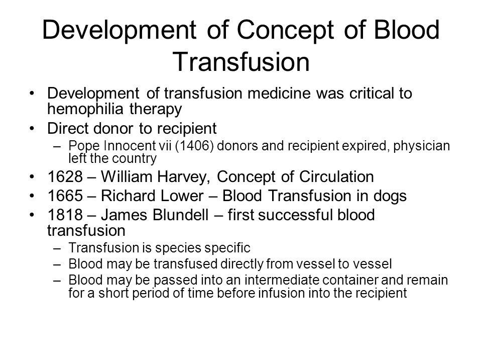Development of Concept of Blood Transfusion