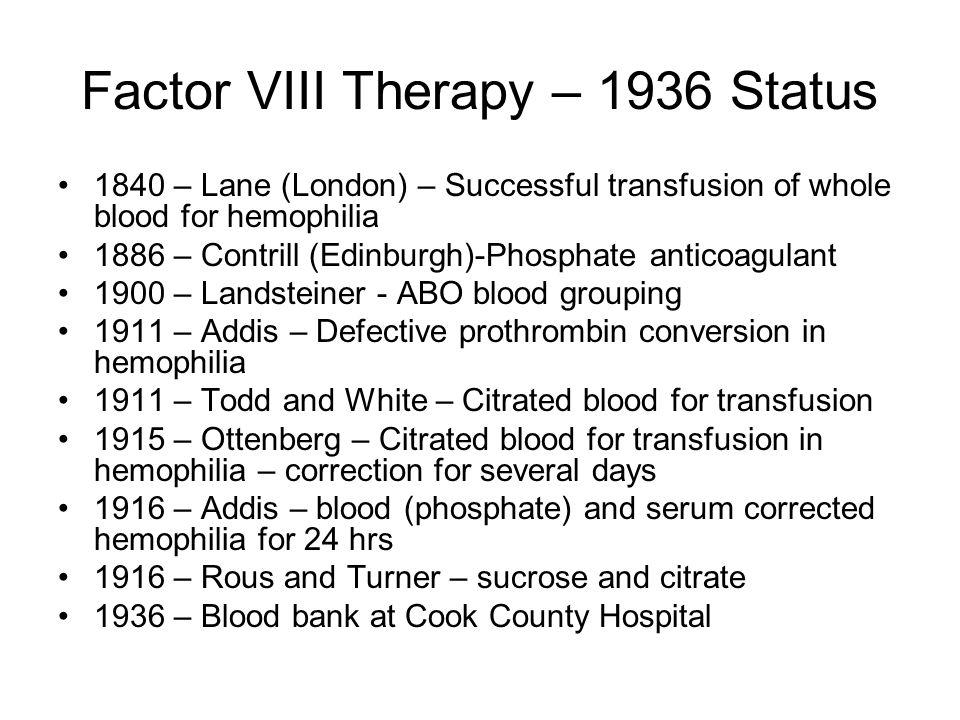Factor VIII Therapy – 1936 Status