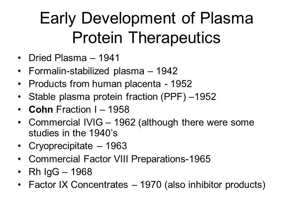 Early Development of Plasma Protein Therapeutics