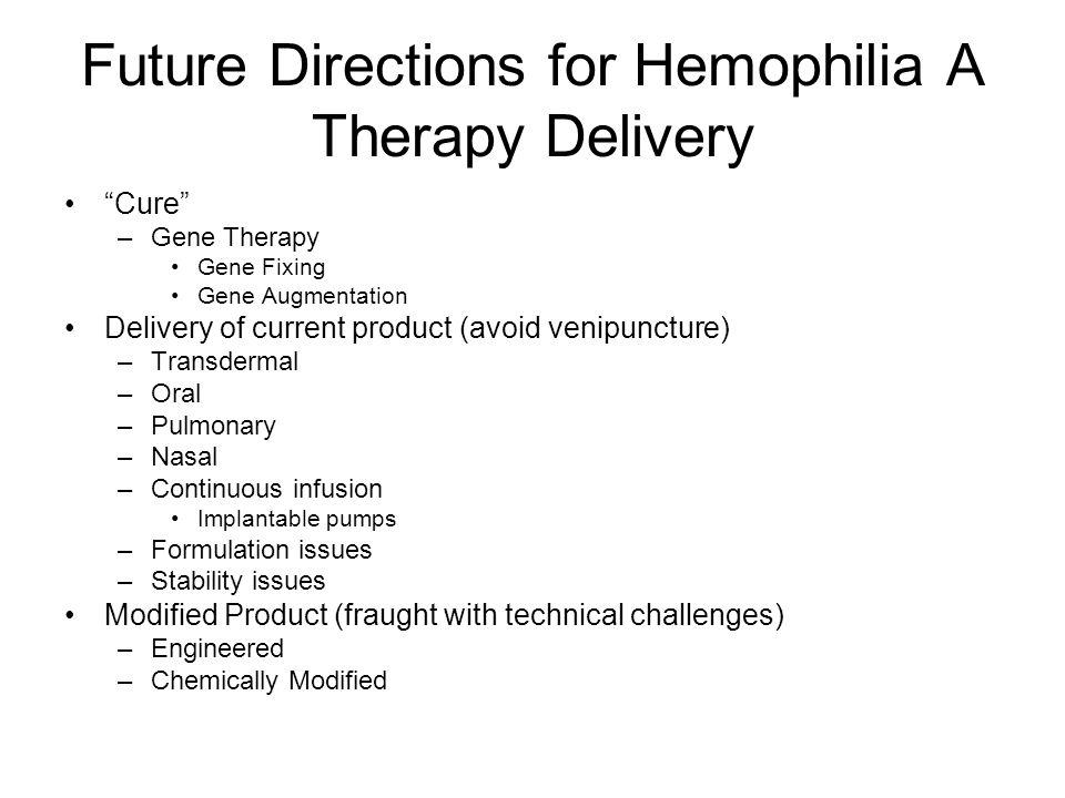 Future Directions for Hemophilia A Therapy Delivery
