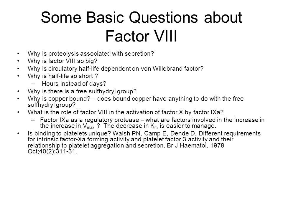 Some Basic Questions about Factor VIII