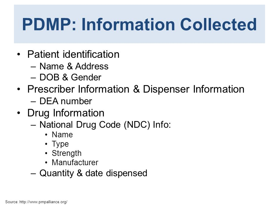 PDMP: Information Collected