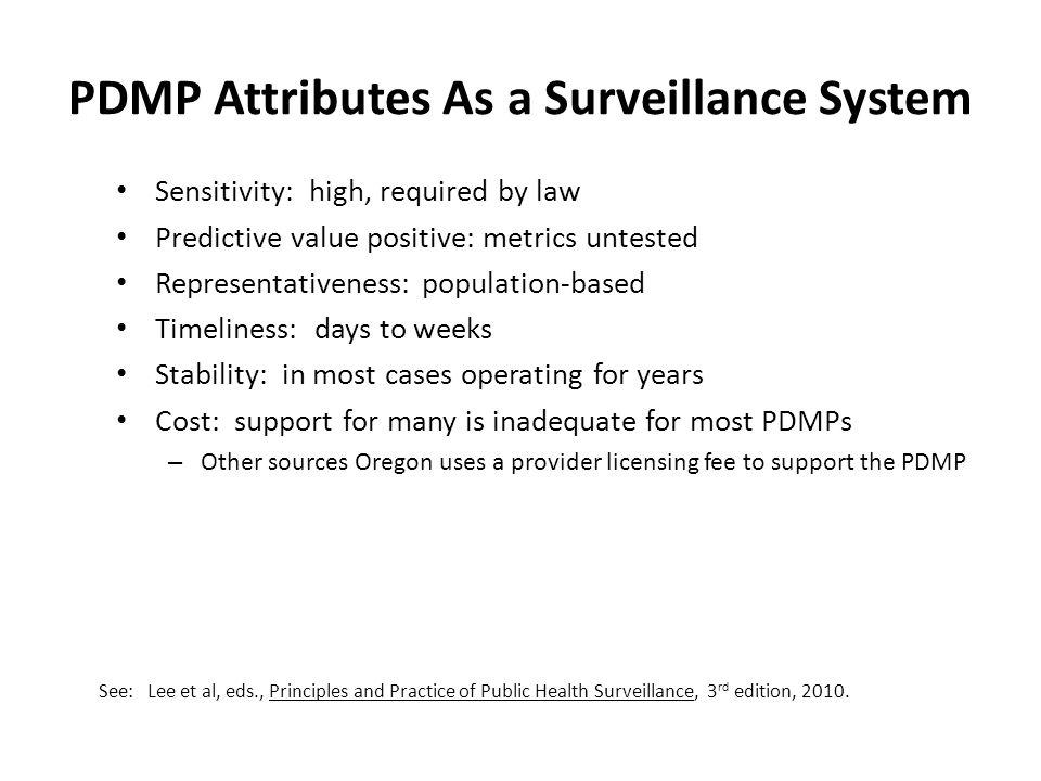 PDMP Attributes As a Surveillance System