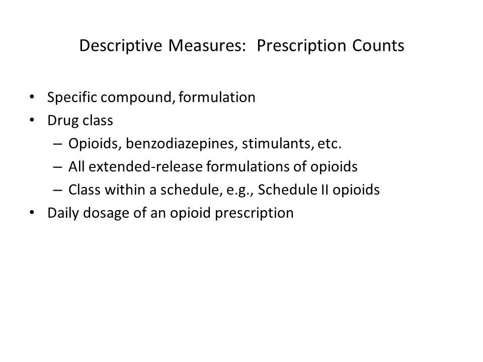 Descriptive Measures: Prescription Counts