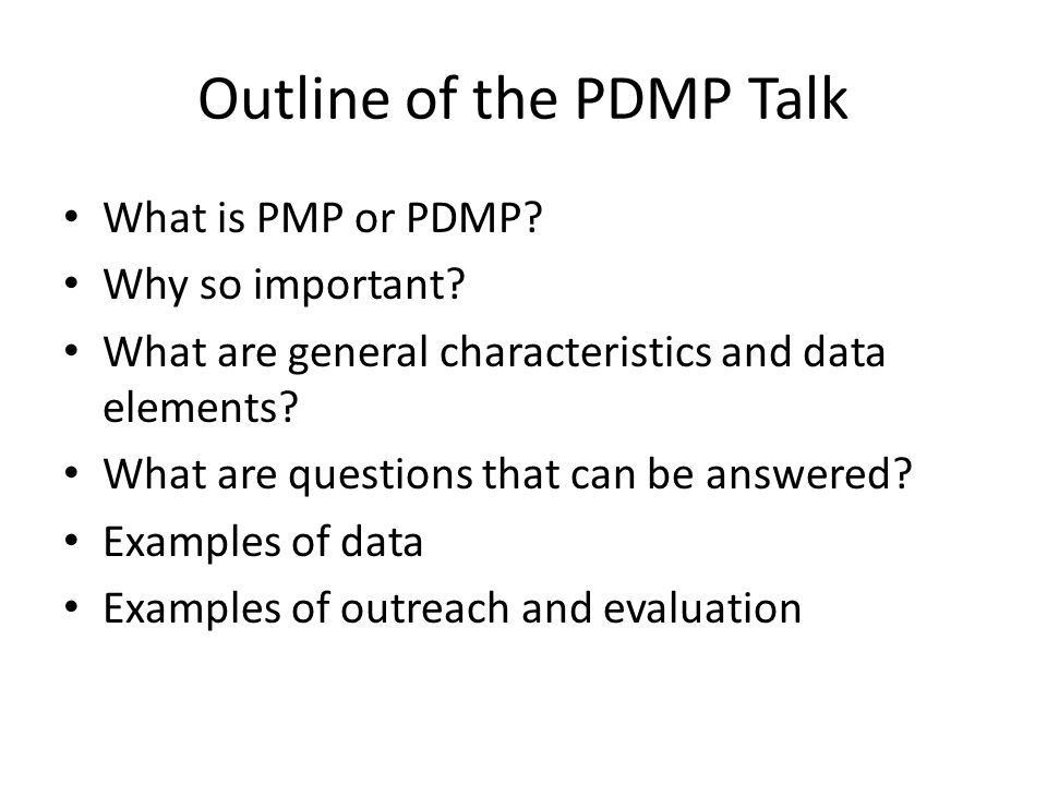 Outline of the PDMP Talk
