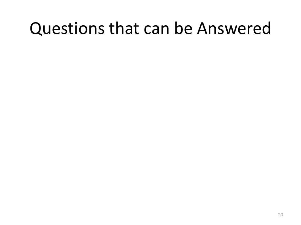 Questions that can be Answered