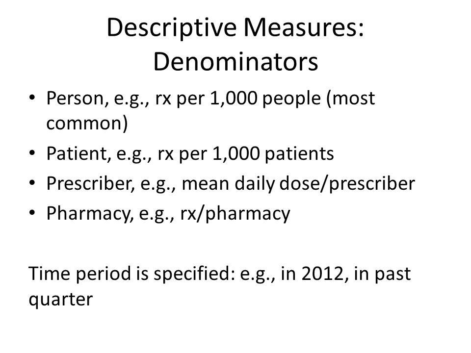 Descriptive Measures: Denominators