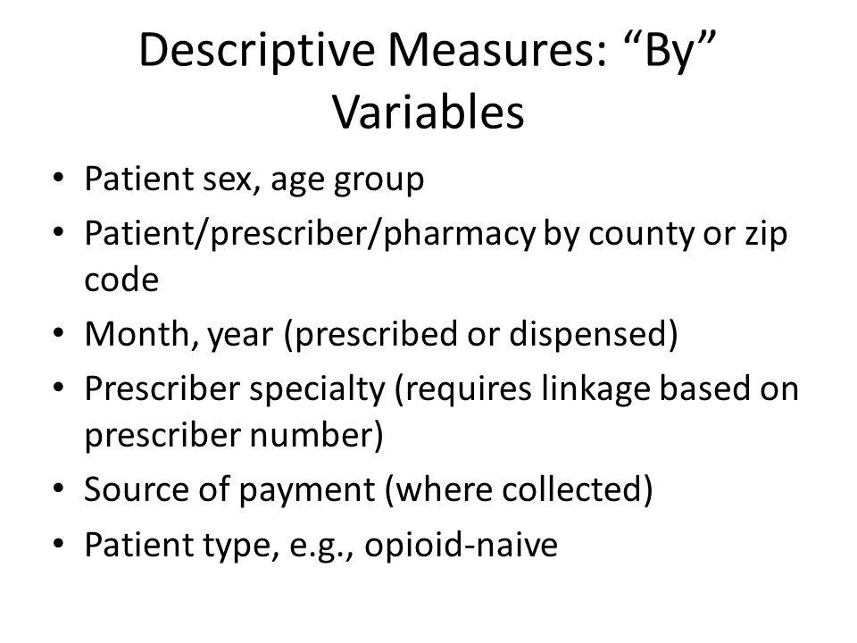 Descriptive Measures: By Variables