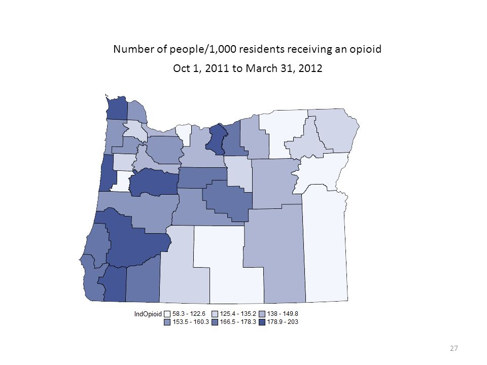 Number of people/1,000 residents receiving an opioid