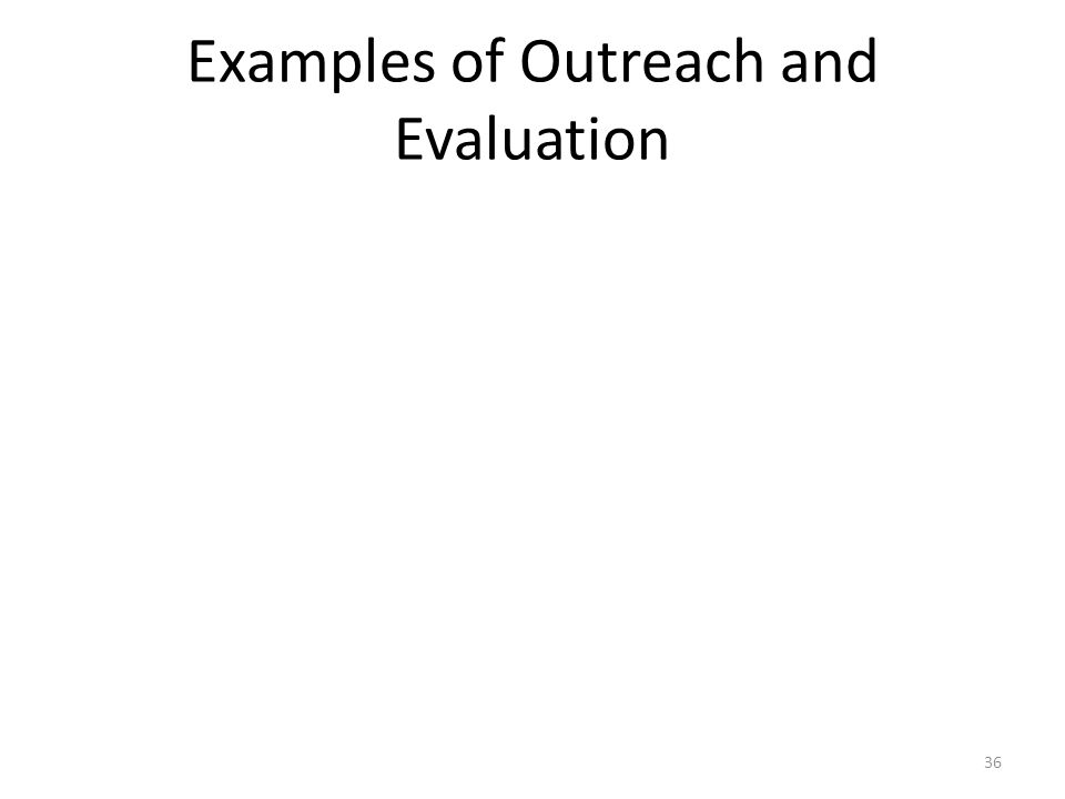 Examples of Outreach and Evaluation