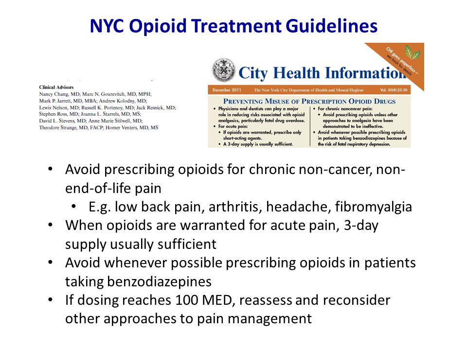 NYC Opioid Treatment Guidelines