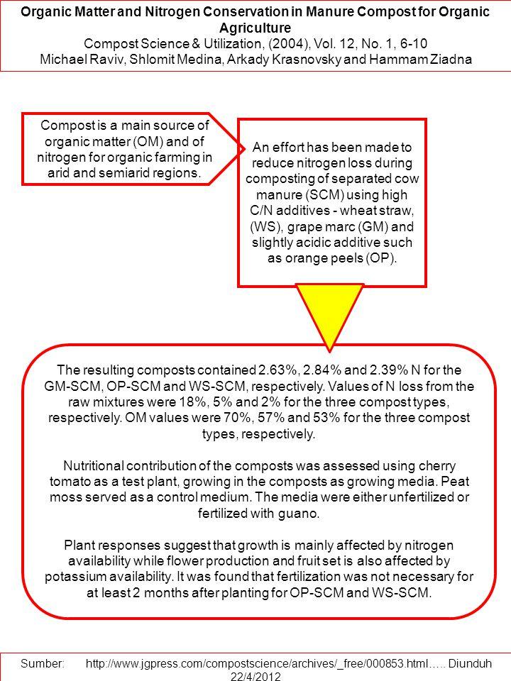 Compost Science & Utilization, (2004), Vol. 12, No. 1, 6-10
