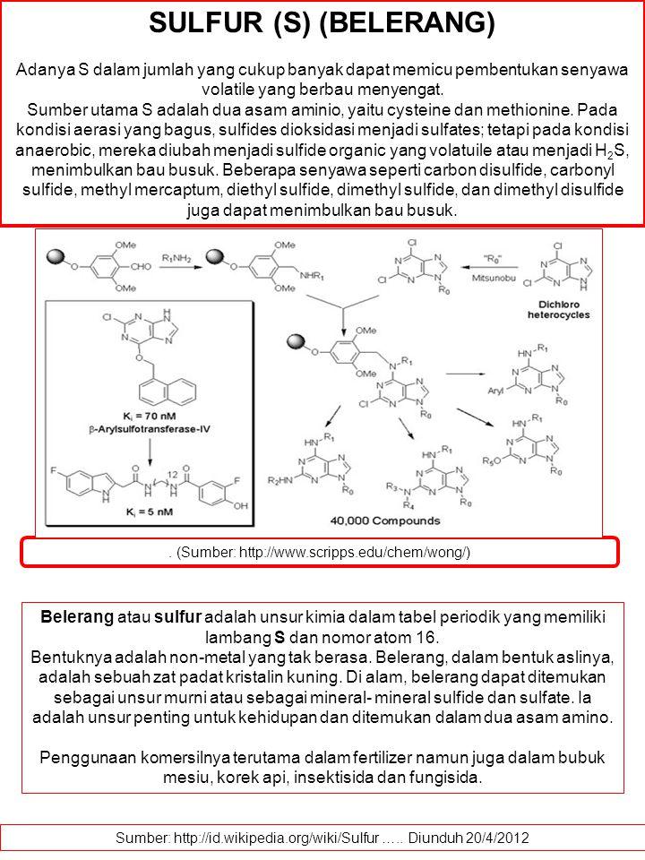 SULFUR (S) (BELERANG) Adanya S dalam jumlah yang cukup banyak dapat memicu pembentukan senyawa volatile yang berbau menyengat.