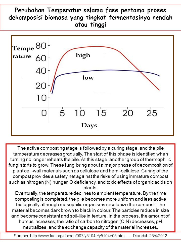 Perubahan Temperatur selama fase pertama proses dekomposisi biomasa yang tingkat fermentasinya rendah atau tinggi