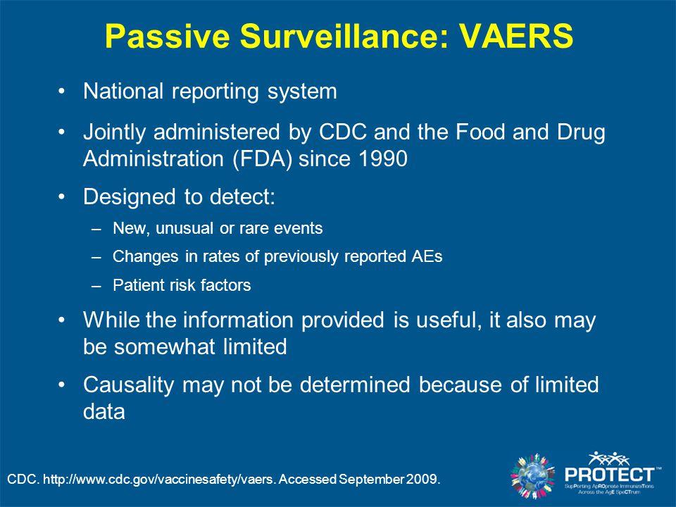 Passive Surveillance: VAERS