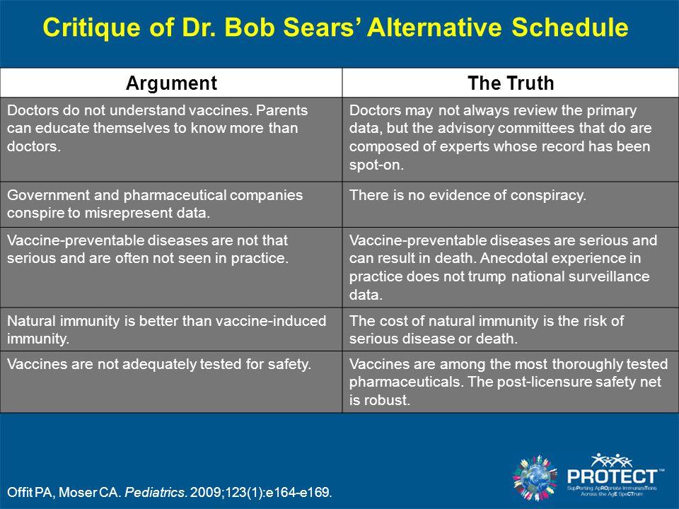 Critique of Dr. Bob Sears' Alternative Schedule