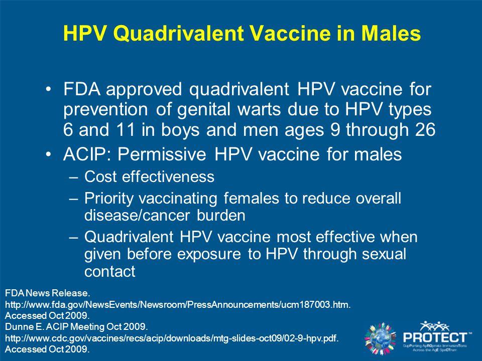 HPV Quadrivalent Vaccine in Males