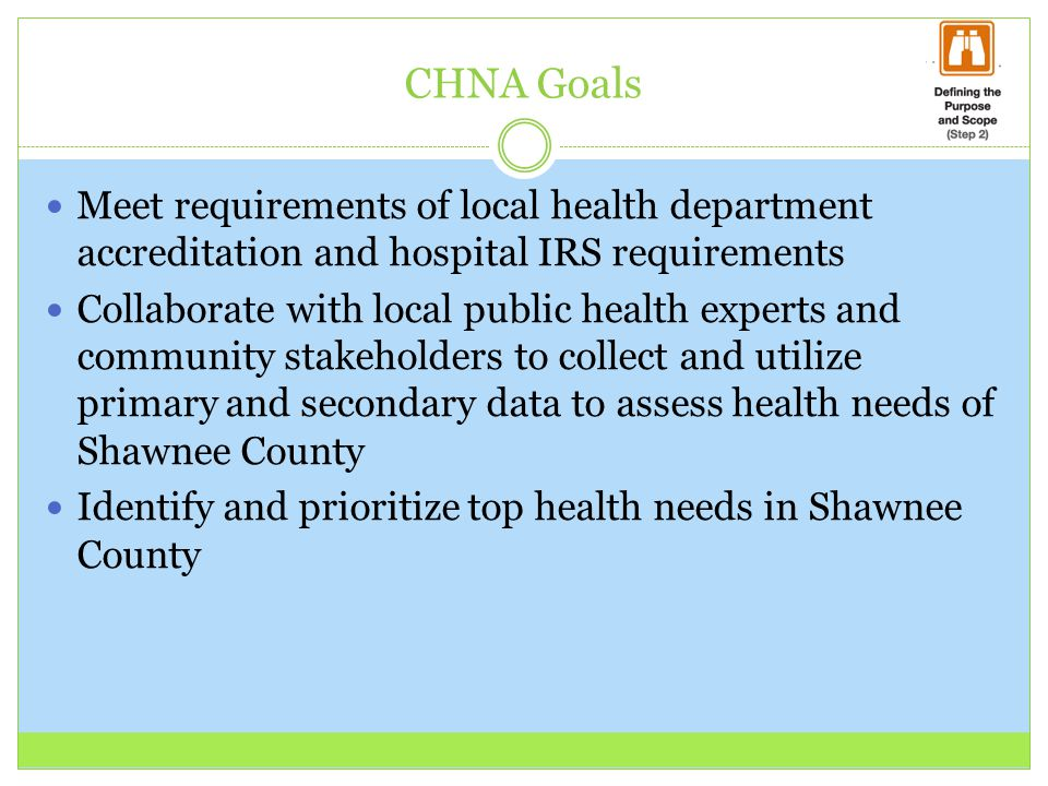 CHNA Goals Meet requirements of local health department accreditation and hospital IRS requirements.
