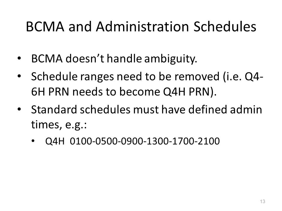 BCMA and Administration Schedules